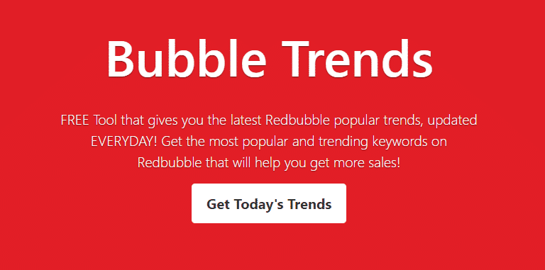 Screenshot of the Bubble Trends Homepage