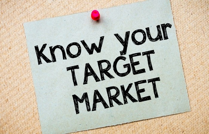 """a poster pinned to a wall that reads """"Know your target market"""""""