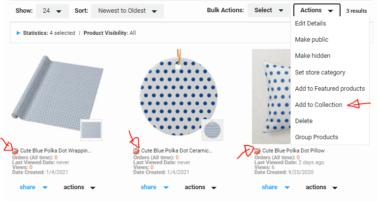 Add Products to Collection on Zazzle