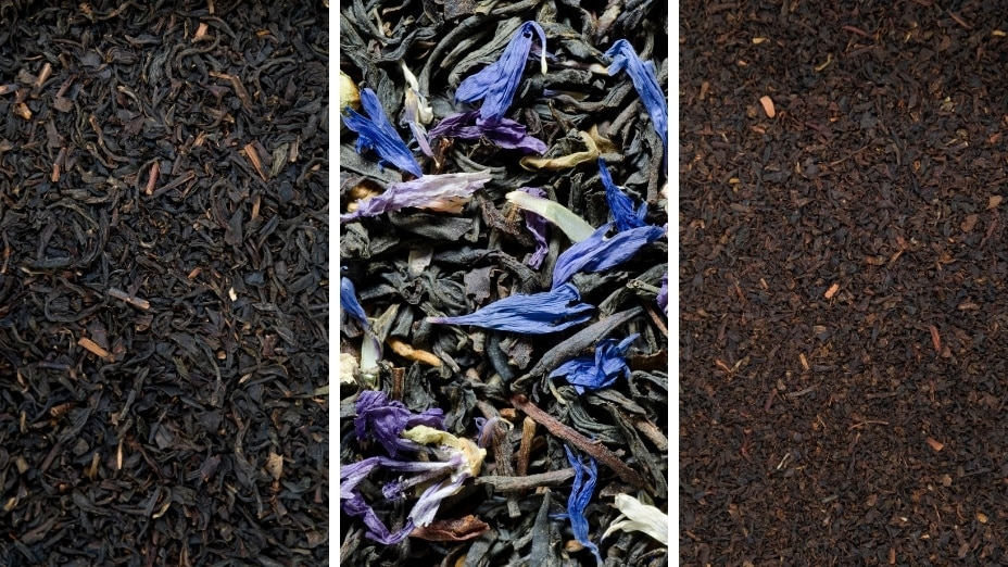 A picture of orange pekoe, earl grey, and english breakfast loose leaf tea