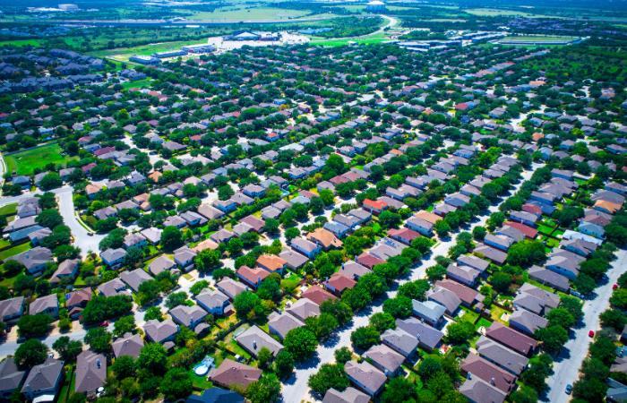 An aerial shot of a residential neighborhood in Austin Texas