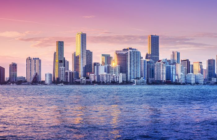 a beautiful photo of Miami with purple and blue hues