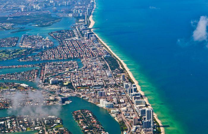 an aerial photo of Miami Beach