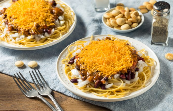 a photo of Cincinnati's famous spaghettis chili.