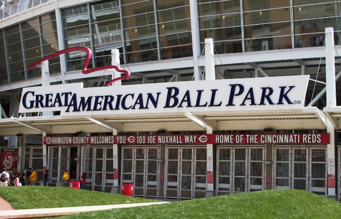 a photo of the outside of the Great American Ball Park stadium in Cincinnati Ohio