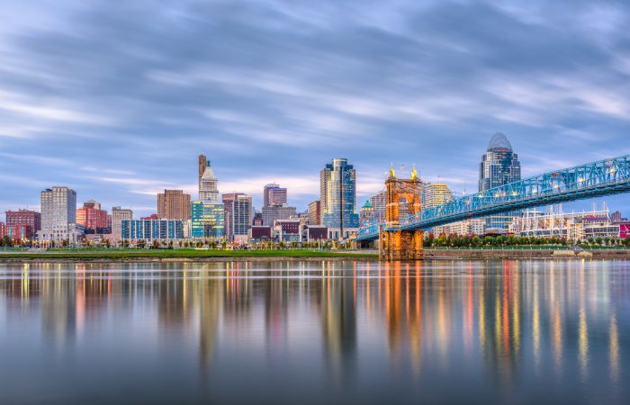 a photo of the city of Cincinnati with a dramatic cloudy blue sky