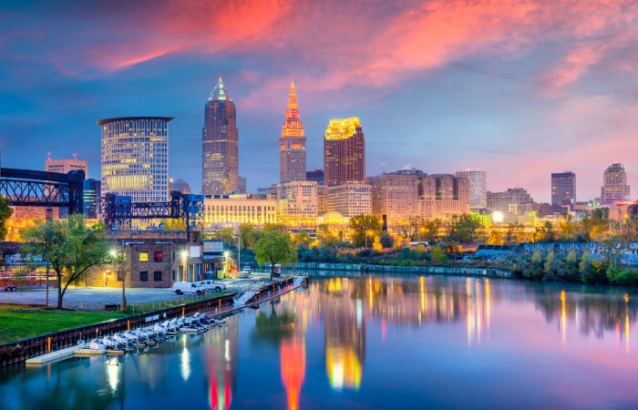 a colorful photo of the city of Cleveland