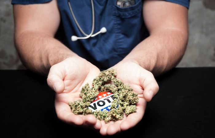 """a photo of a pair of hands holding cannabis and a sticker that reads """"vote"""". The person looks to be wear scrubs and a stethoscope"""