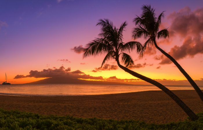 a picture of the sunset over the horizon on a beach in Honolulu, Hawaii