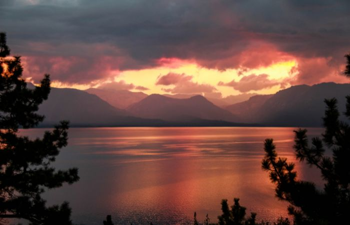 a photo of the sunset or over Lake Tahoe