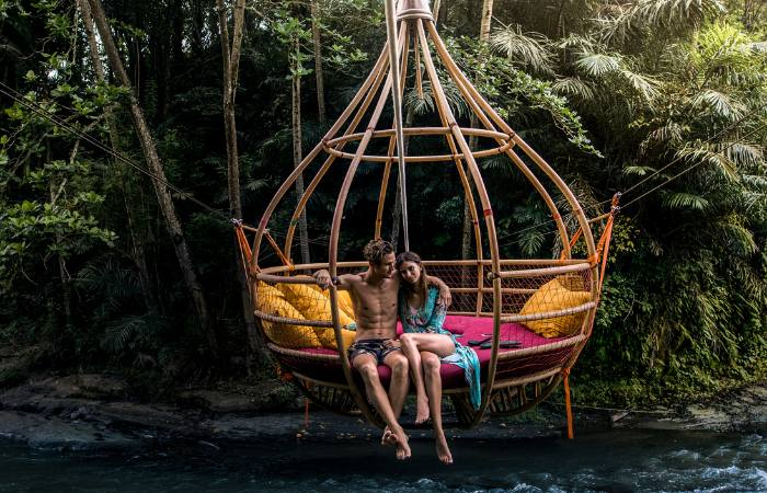 a photo of large couple's swing in Bali