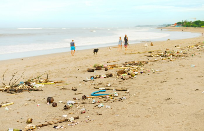 a photo of the garbage on the beach in Bali, Indonesia