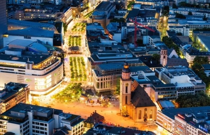 an aerial view of Frankfurt's shopping district