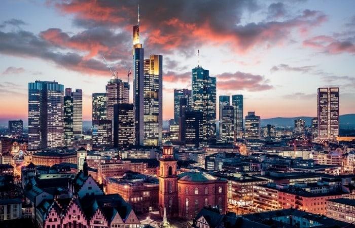 a skyline shot of Frankfurt, Germany